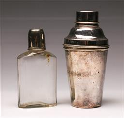Sale 9119 - Lot 195 - A silver plated cocktail shaker (H 20cm) together with lidded scent bottle