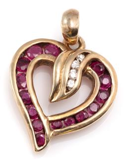 Sale 9128J - Lot 1 - A 9CT GOLD DIAMOND AND RUBY HEART PENDANT; open heart frame channel set with round cut rubies and 4 round brilliant cut diamonds, si...