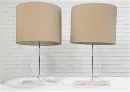 Sale 9171 - Lot 1085 - Pair of Perspex disc form table lamps by Bloomingdale (h:77cm)