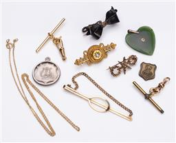 Sale 9180E - Lot 167 - A collection of vintage costume jewellery including a silver fob