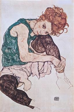 Sale 9237A - Lot 5007 - AFTER EGON SCHIELE (1890-1918) (CZECH) The Artists Wife, 1917 offset lithograph 90 x 60 cm (frame: 98 x 68 cm) signed in print