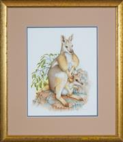 Sale 8424A - Lot 5065 - Peter Longhurst (1922 - ) - Rock Wallaby and Joey 40 x 35cm
