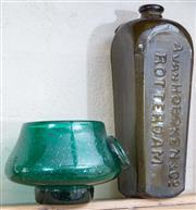 Sale 8550H - Lot 116 - A Dutch green glass bottle by A. Van Hoboken & Co., together with a green glass bowl