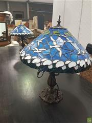 Sale 8620 - Lot 1068 - Pair Blue Shade Leadlights