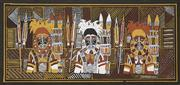 Sale 8716 - Lot 2042 - Artist Unknown (Bathurst Island) - Three Figures in Ceremonial 49 x 105cm