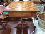Sale 8740 - Lot 1295 - Single Drawer Side Table with Chess Board Top