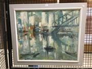 Sale 8753 - Lot 2075 - Oskars Deklavs - Sydney Harbour Bridge oil on board, 62 x 72cm (frame) signed lower -