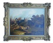Sale 8980J - Lot 67 - George Armfield  British 1810-1893   Terriers and badger oil on canvas signed. 51 x 69 cm