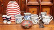 Sale 9060H - Lot 4 - A group lot of ceramics including milk jugs, striped vase, egg cups and a middle eastern dish.