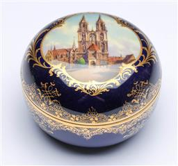 Sale 9093P - Lot 91 - Antique Meissen Blue Ground Lidded Box with View of Church (D: 9 cm)