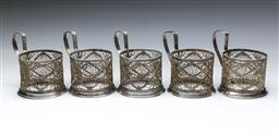 Sale 9098 - Lot 410 - Set of Six Russian Silver Plated and Filigree Cup Holders (H:10cm)