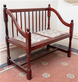 Sale 9190H - Lot 5 - A two seater spindle back hall bench with scrolled arm, with removable tapestry seat, Height 90cm x Width 96cm x Depth 48cm