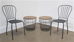 Sale 9215 - Lot 1551 - Pair of modern timber top side table & metal chairs (h85cm)