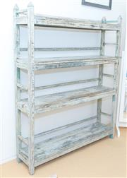 Sale 8380A - Lot 90 - A four tier shabby chic book stand, H 155 x W 125 x D 29cm