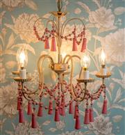 Sale 8500A - Lot 28 - A vintage Venetian tole 5 branch chandelier featuring pink timber bell shaped pendants & beaded garlands - Condition: In working ord...