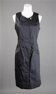 Sale 8499A - Lot 62 - A Gerard Darel (French made) black cotton sleeveless shirt dress with silvertone studded button-up front & 2 pockets with studs; Siz...