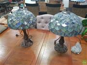 Sale 8620 - Lot 1051 - Pair Mottled Shade Leadlights
