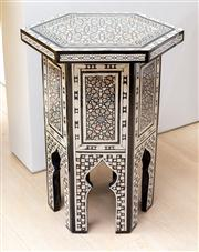 Sale 8703A - Lot 51 - An ottoman style hexagonal, lamp table , storage area with red velvet lining, H x 60cm, W x 40cm