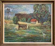 Sale 8753 - Lot 2076 - Joseph Klimek - A Country Home oil on canvas, 61 x 72.5cm (frame), signed lower left -