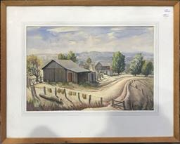 Sale 9106 - Lot 2007 - F.S Rodriguez Barnyard, Currarong, NSW, 1938 watercolour and gouache, frame: 59x 74 cm, signed and dated lower right -