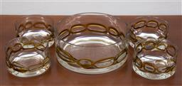 Sale 9140H - Lot 65 - A five piece trifle set including four serving bowls, with amber chain effect to base, largest diameter 22cm
