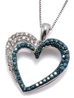 Sale 9169 - Lot 393 - A 14CT WHITE GOLD BLUE AND WHITE DIAMOND HEART PENDANT NECKLACE; open heart pendant set with round brilliant cut white and treated b...