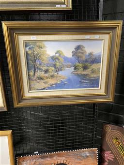 Sale 9176 - Lot 2041 - Sandra ForbesAfternoon Glow, Pages River oil on board 29 x 44 cm, signed lower right, titled verso -