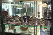 Sale 8283 - Lot 87 - Silver Plated Set of Three Tureens with Other Plated Wares incl. a Pair of Candlesticks