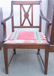 Sale 8440A - Lot 43 - A set of four mahogany elbow chairs with drop in seats, upholstery in need of attention