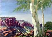 Sale 8442A - Lot 7 - Oscar Namatjira (1922 - 1991) - Gum and Escarpment 27.5 x 37.5cm