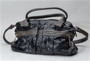 Sale 8740F - Lot 16 - A See by Chloe  black patent bag with contrasting leather handles and trim, twin pockets to front and shoulder strap, H 27 x W 40cm