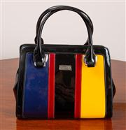 Sale 8774A - Lot 296 - A Serenade Beverly Hills Collection patent leather primary colours handbag.