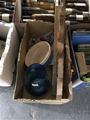Sale 8797 - Lot 2495 - Box of Sundries incl. Sign, Glass Vase & Dish, etc