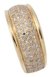Sale 9029 - Lot 377 - AN 18CT GOLD HALF HOOP DIAMOND RING; pave set with 88 single cut diamonds in 4 rows on 10mm wide tapering band, size R. wt. 9.19g.