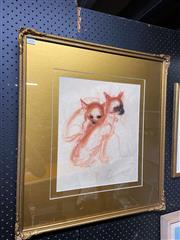 Sale 9058 - Lot 2056 - Artist Unknown (Forli), Chihuahuas Pastel; 65 x 58 cm; signed lower left.