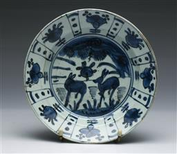 Sale 9093P - Lot 49 - Late Ming Blue and White Dish with Deers (Restored to Rim D: 20.5 cm)