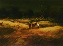 Sale 9141A - Lot 5018 - TOM MCAULAY (1946 - ) Bush at Night oil on canvas 39 x 54 cm (frame: 59 x74 x 3 cm) signed lower right