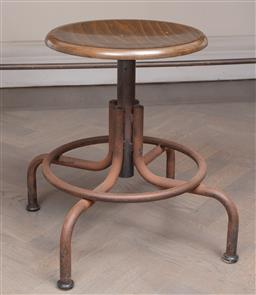 Sale 9130H - Lot 56 - Set of four height adjustable timber top and iron based stools, Height 47cm