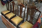 Sale 8050B - Lot 23 - Set of four Edwardian carved maple dining chairs with pierced splat
