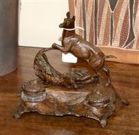 Sale 8171A - Lot 34 - Antique French bronzed metal inkstand with deer figure, H 18cm, L 18cm