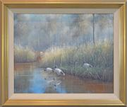 Sale 8259 - Lot 502 - Ron Van Gennip (1947 - ) - Untitled (Ibises by the River) 61 x 76cm