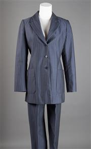 Sale 8499A - Lot 64 - A Max Mara (Italian made) grey pinstripe trouser suit. Wool/mohair blend. Size 38 (Small).