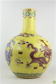 Sale 8572 - Lot 71 - Hand Painted Chinese Vase Yellow Field Dragon Motif, Qianlong Mark