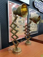 Sale 8566 - Lot 1041 - Pair of Reproduction Brass Wall Mount Ships Lamps
