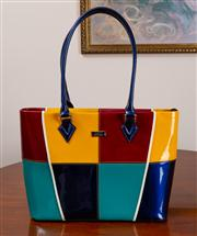 Sale 8774A - Lot 297 - A Serenade Beverley Hills Collection patent leather tote  handbag in primary colours with dust bag.