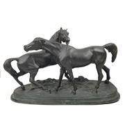 Sale 8795K - Lot 41 - A heavy bronze figural group of horses