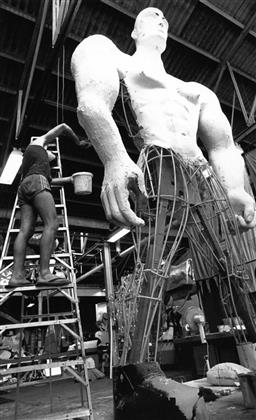 Sale 9082A - Lot 5020 - Malcom Cole, Aboriginal Representation float under construction for the Sydney Gay and Lesbian Mardi Gras Parade (1988), 15.5 x 25 c...
