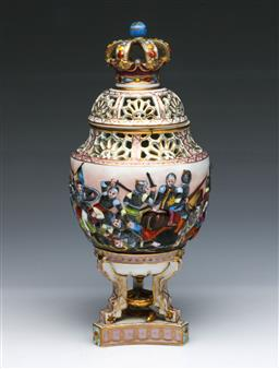 Sale 9093P - Lot 64A - C.19th German Pot Pourri with Crown Cover and Scenes of Battling Knights (H: 24 cm)