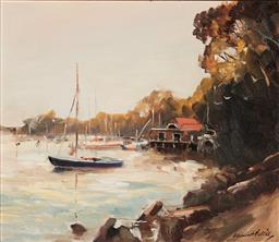 Sale 9133 - Lot 589 - Dermont Hellier (1916 - 2006) Boathouse at Sunset, Mosman Bay oil on board 29 x 34 cm (frame: 48 x 53 x 3 cm) signed lower right