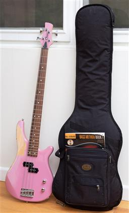 Sale 9190H - Lot 470 - A pink casio stage series electric guitar- no cords untested together with fender guitar bag & Bass Method Book1